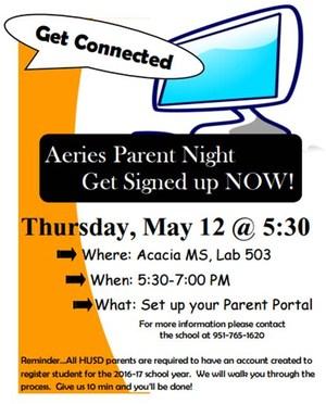 Aeries Parent Night Flyer