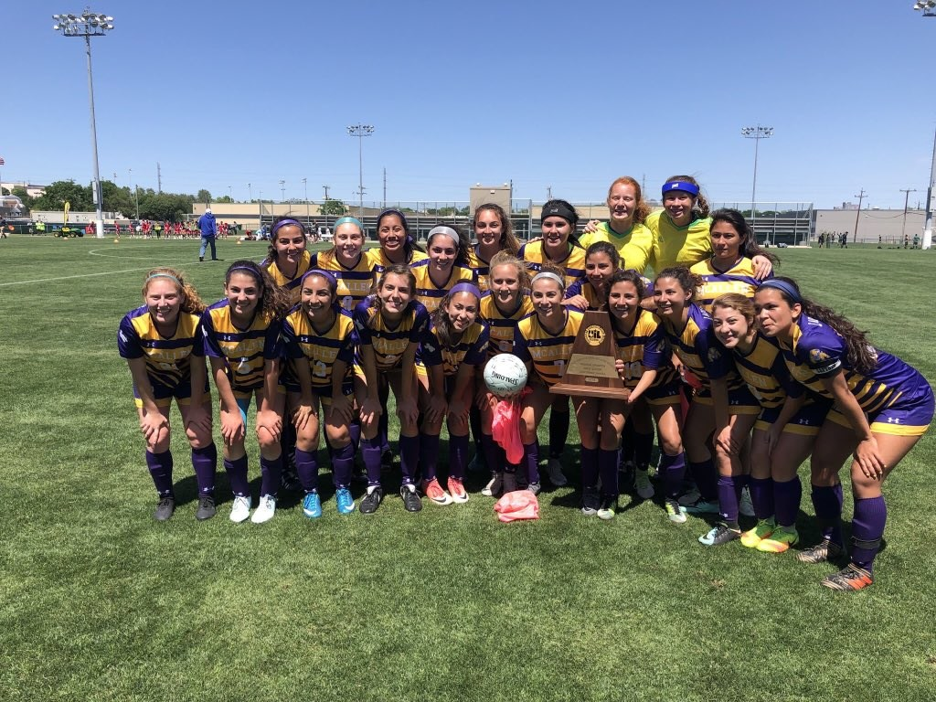 Girls Soccer Team Photo with Regional Championship Trophy