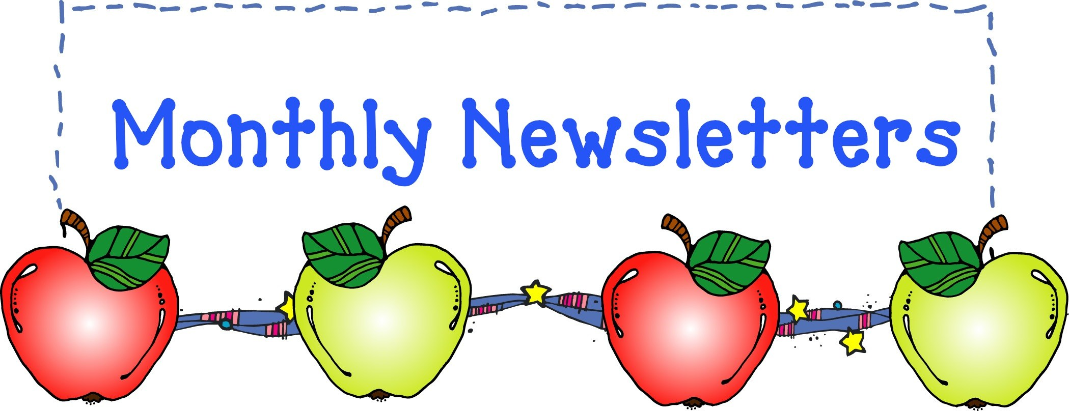 Clip art of apples and monthly newsletter title