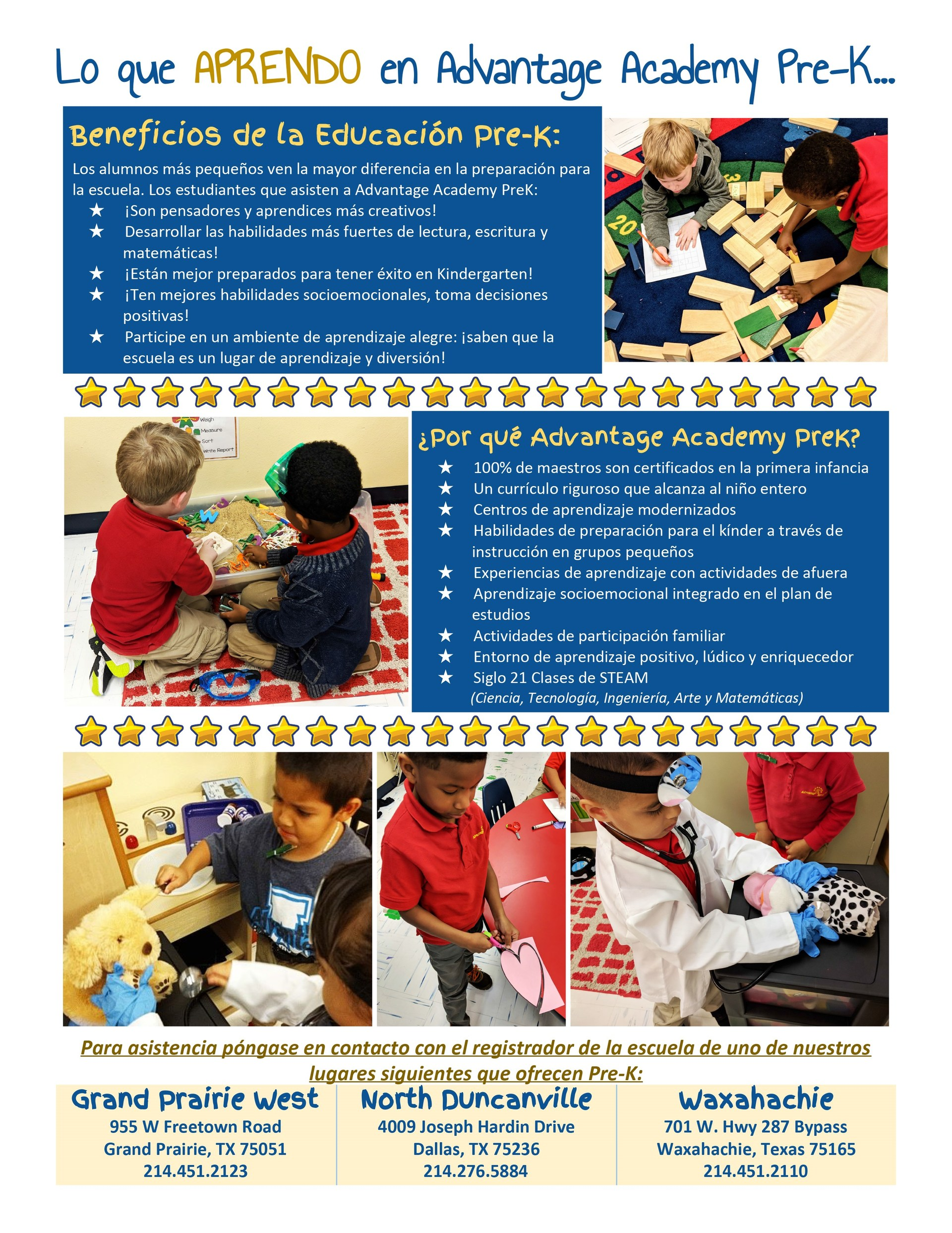 Espanol PreK flyer Whagt We Learn at Advantage Academy