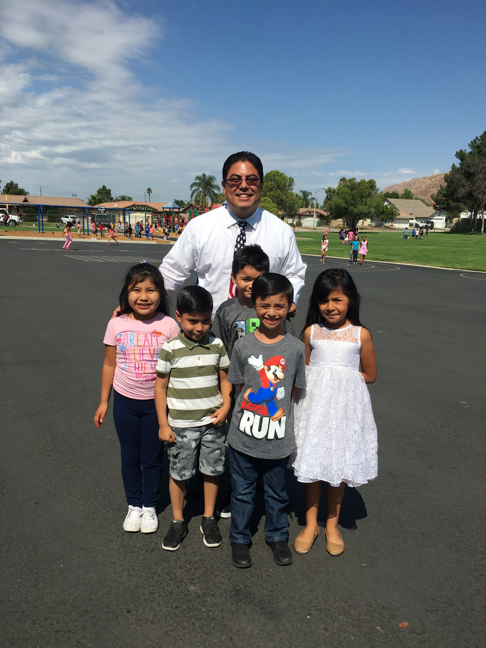 Mr. Palomino with Sunnymeadows students