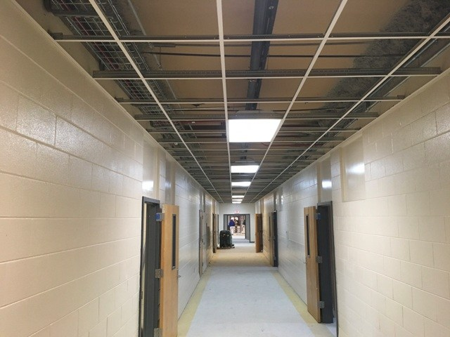 Photo of Springdale Elementary painted corridor and new ceiling framework