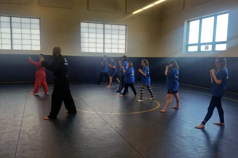 Students work on martial arts moves with their trainer