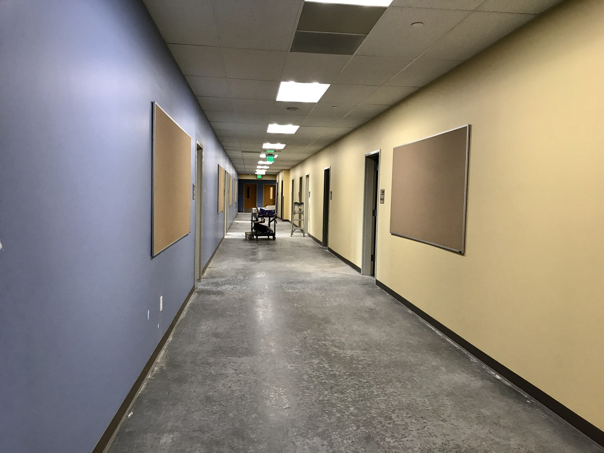 Hallway with yellow and blue walls