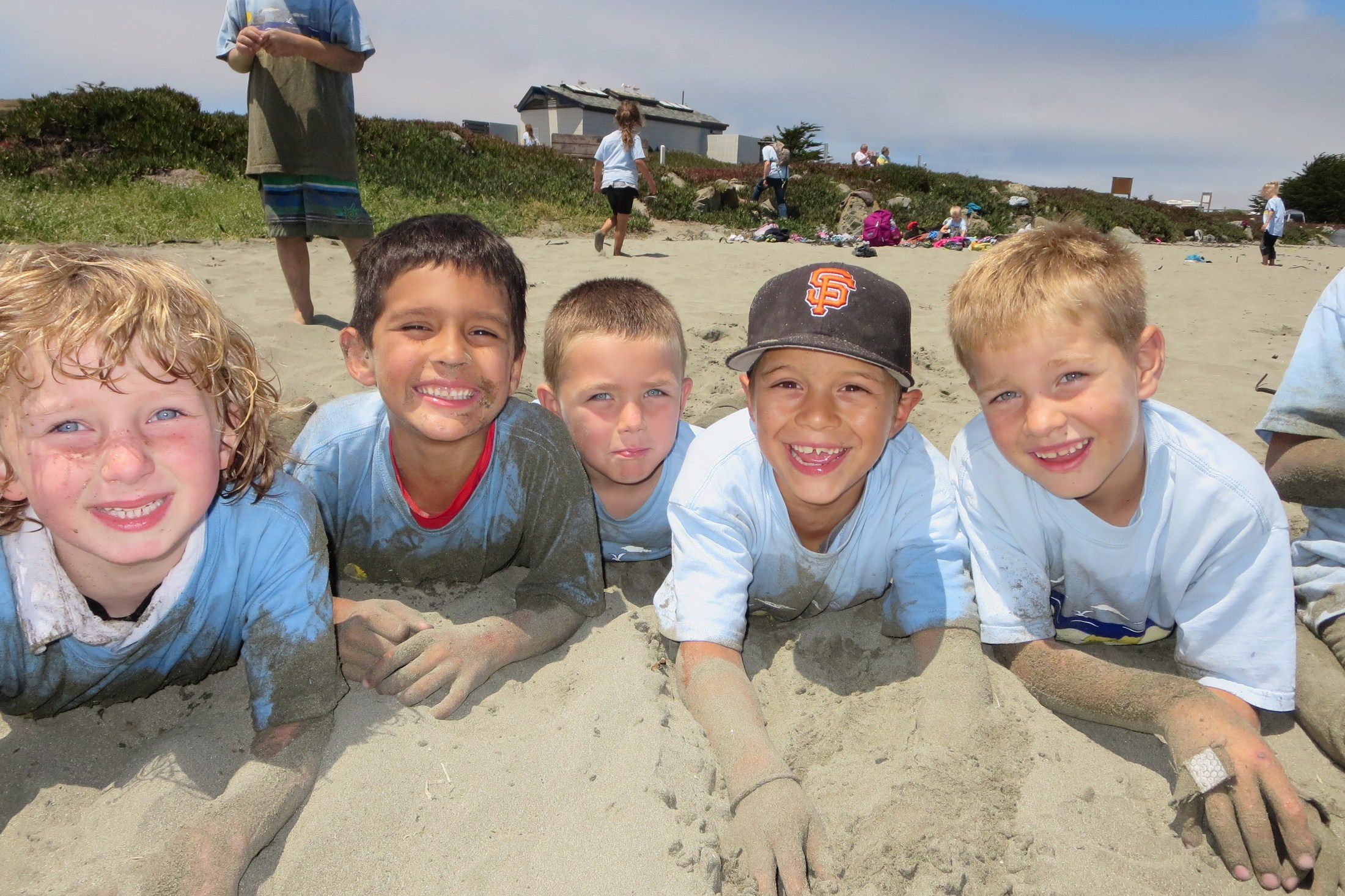 Students in sand