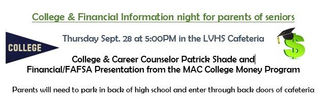 College and Financial Information Night for Parents of Seniors Thumbnail Image