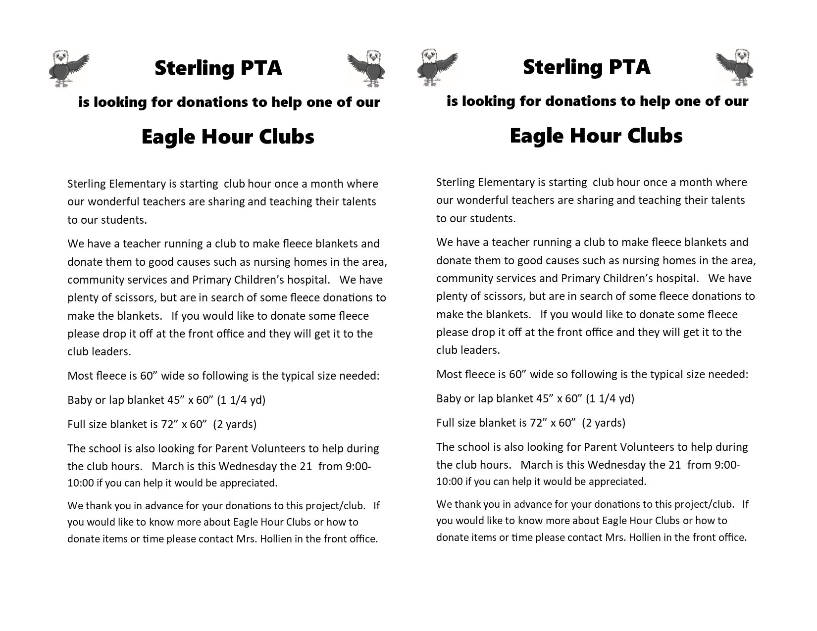 Donations needed for Fleece for Eagle Hour Club