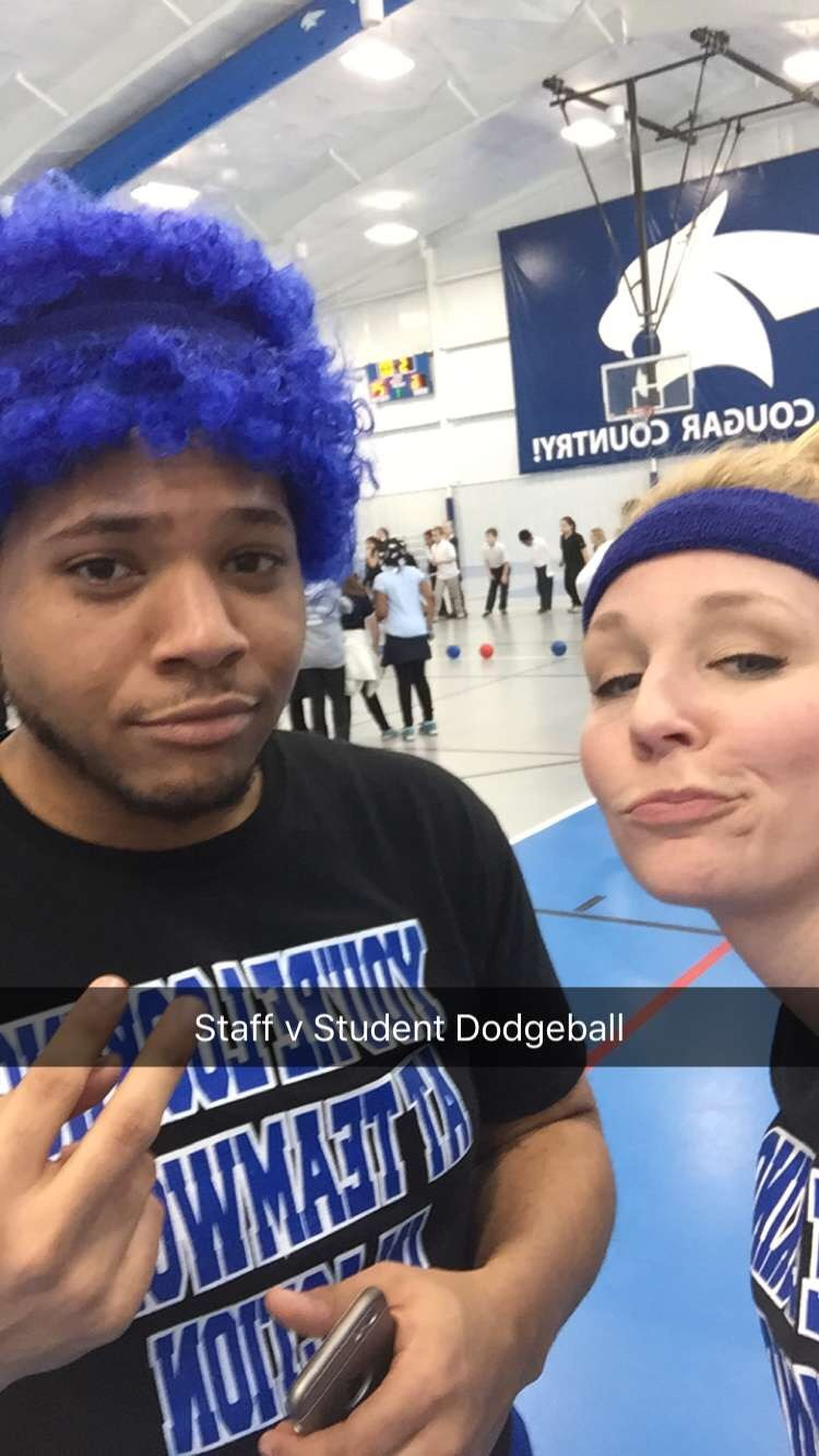 Mr. Smith and Mrs. Furney during 2015 Staff v. Student Dodgeball
