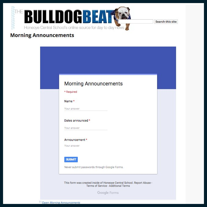 Morning Announcment Form