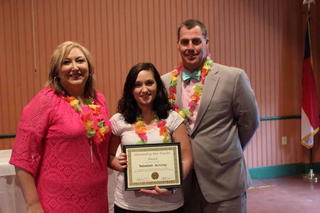 Rebekah Autrey Beginning Teacher of the Year with Mr. Garrett and Crystal Hamby