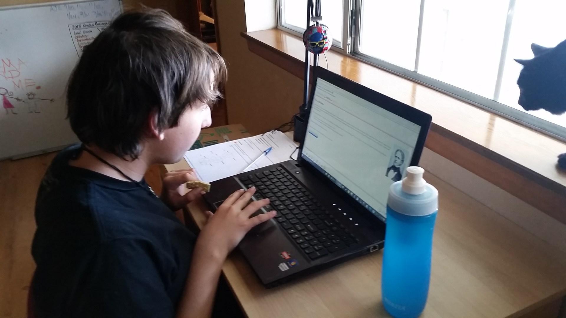 Student doing homework on computer