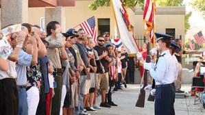 Hemet High JROTC Cadets presenting the colors