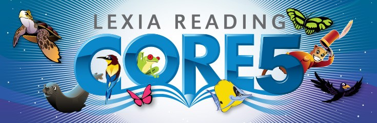 Animals around a sign that reads Lexia Reading Core 5