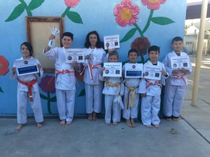 Students in karate gee