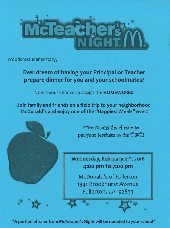 Mc Teacher Night at McDonald's Featured Photo