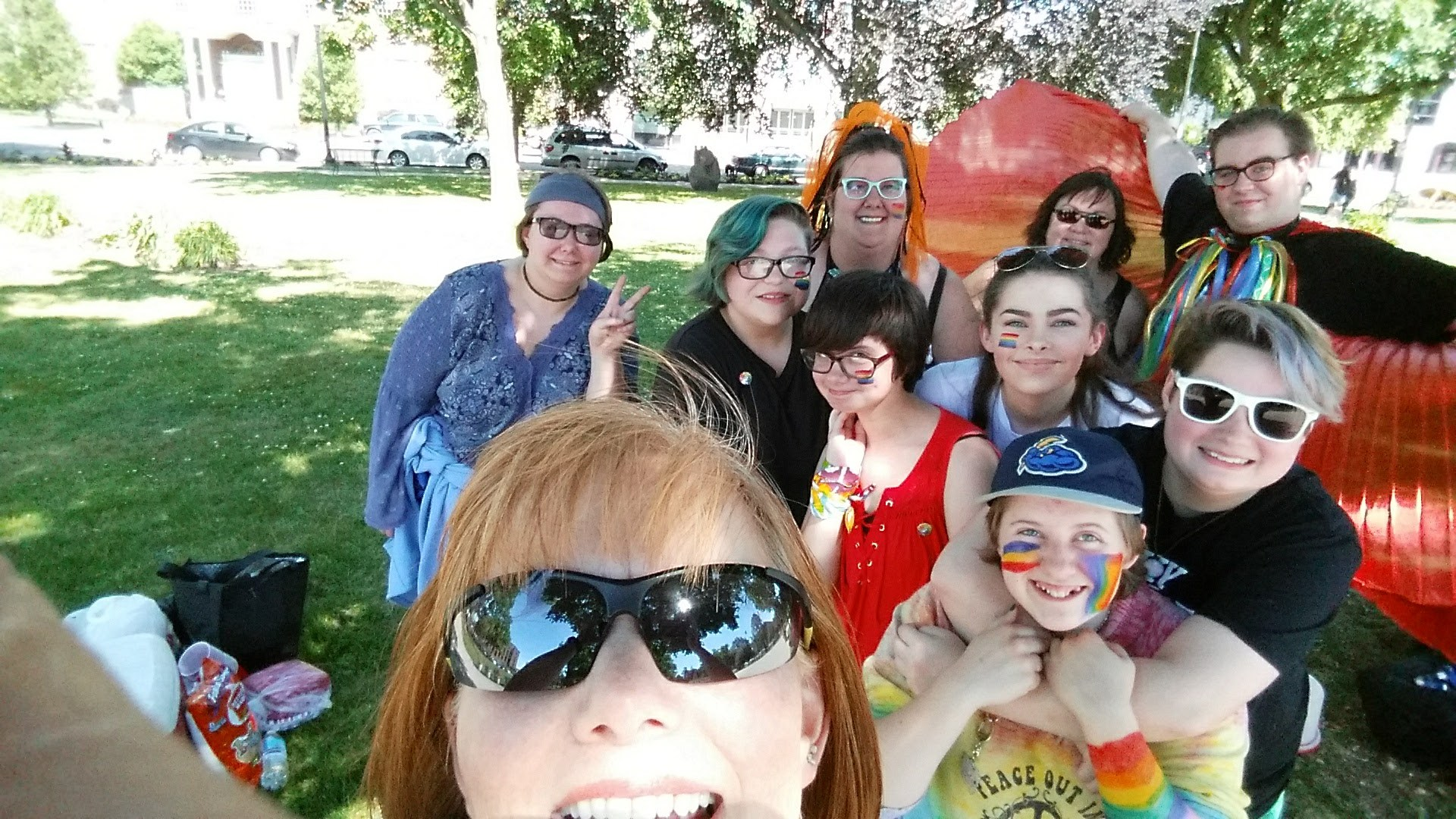 Mrs. Strayer takes a selfie with members of GSA