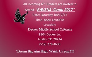 Ravens Camp 2017 To Provide Orientation to Incoming 6th Grade Students Thumbnail Image