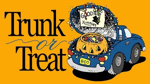 Trunk or Treat- trunk with a jack o lantern in it.