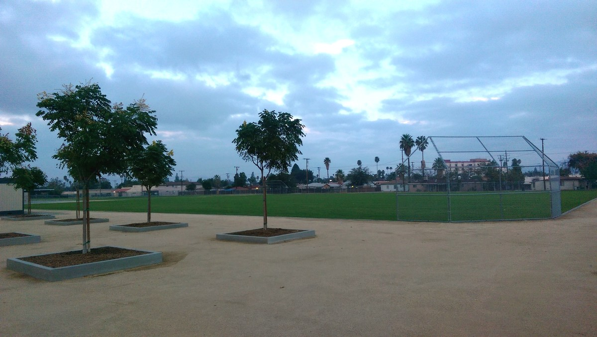 Jogging track and ten basketball courts added.