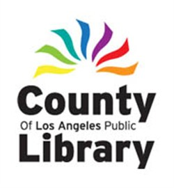 Rainbow color with los angeles public library below