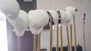 Shovels ready to do the ground breaking ceremony in the gym because of the rain.