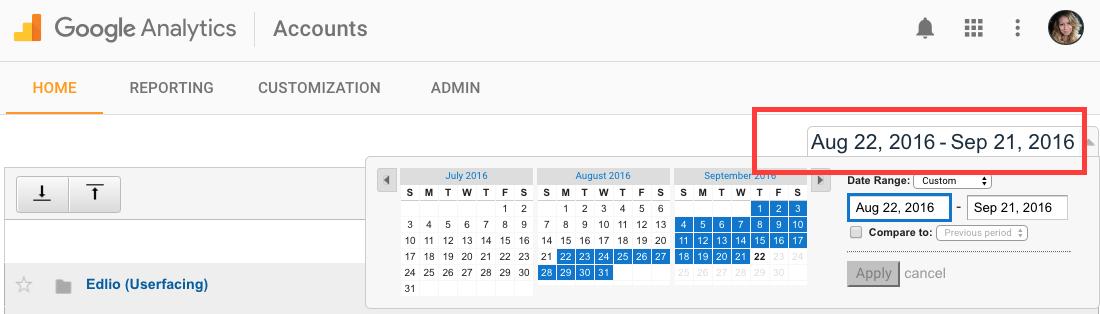 Select a date range