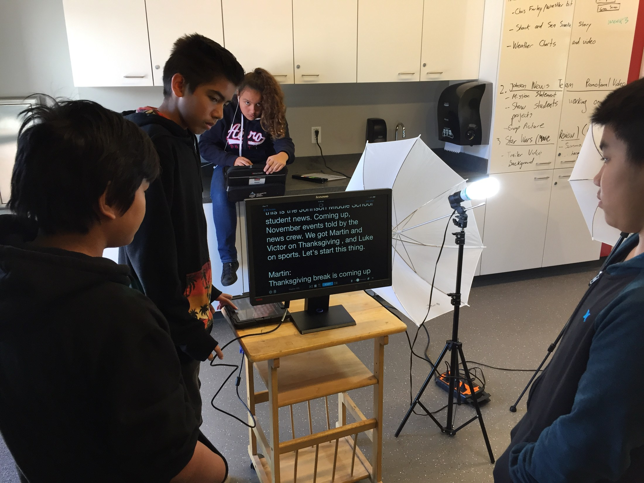 Students use Teleprompter
