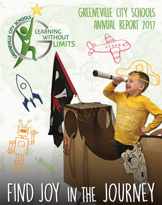 Picture of Front Cover of 2017 Annual Report - Learning Without Limits Finding Joy in the Journey Boy as Pirate