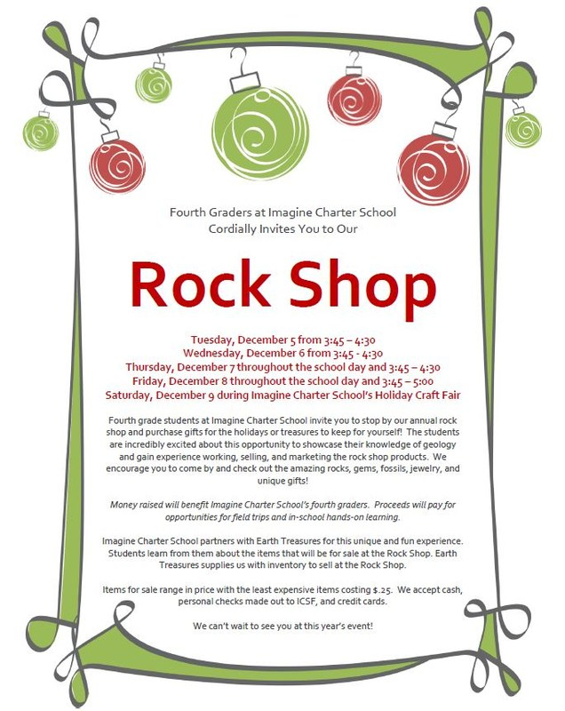 Fourth Grade Rock Shop...starts December 5th! Featured Photo