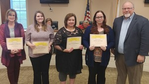 School Winners (L-R) Kimberly Hubbard (WBHS), Brandy Barger (CMS-Secondary), Kim Holdsambeck (WBMS-Elementary), Petra Hunter (BES), Duane McGee, Superintendent.