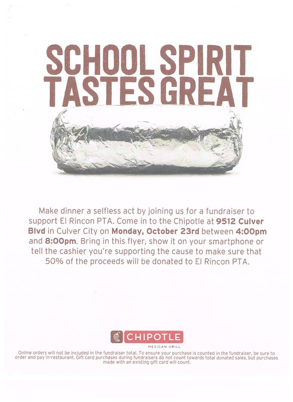Oct. 23rd Family Dinner Fundraiser Night-Chipotle & Coldstone Thumbnail Image