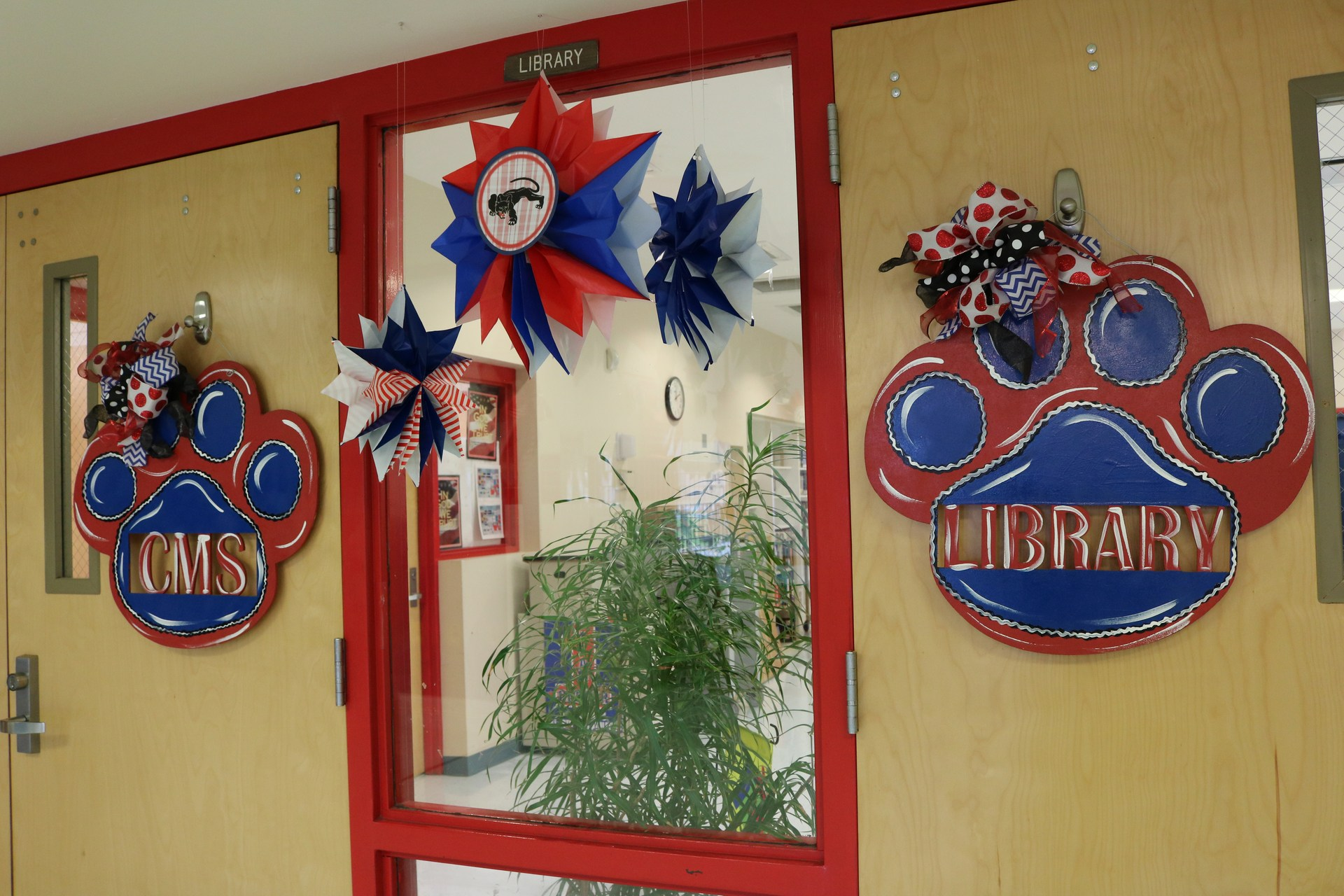 Library entrance door wreaths