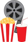 Movie reel, pop, popcorn