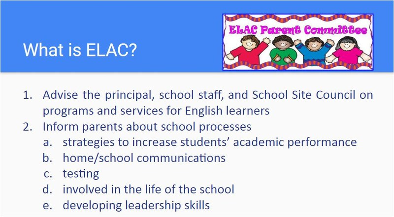 What is ELAC - link to slides shared at the 10/26/17 meeting.