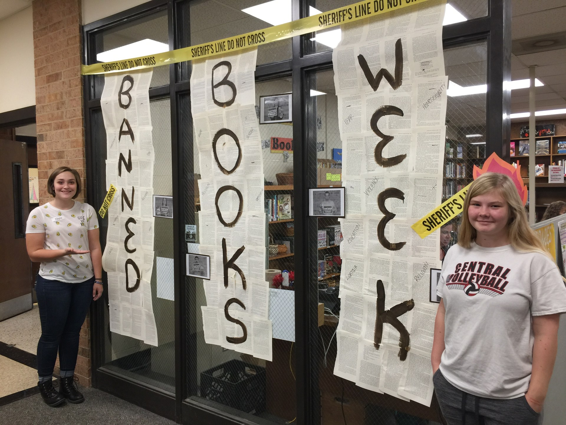 Student created Banned Books Week display.