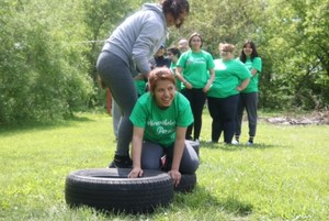 crawling through the obstacle course
