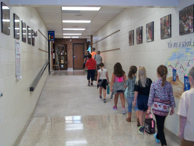Students head to the cafeteria for lunch.