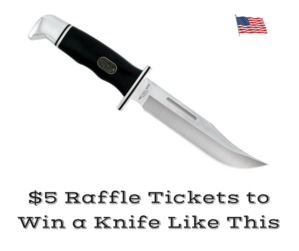 This knife will be raffled off. Tickets are $5. Must be present to win