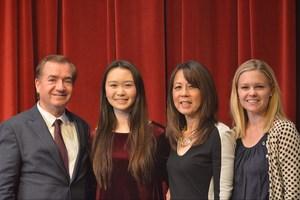 Rep. Ed Royce, Hailey Shi, art teacher Coleen Gee and GLC Jenna Brummett