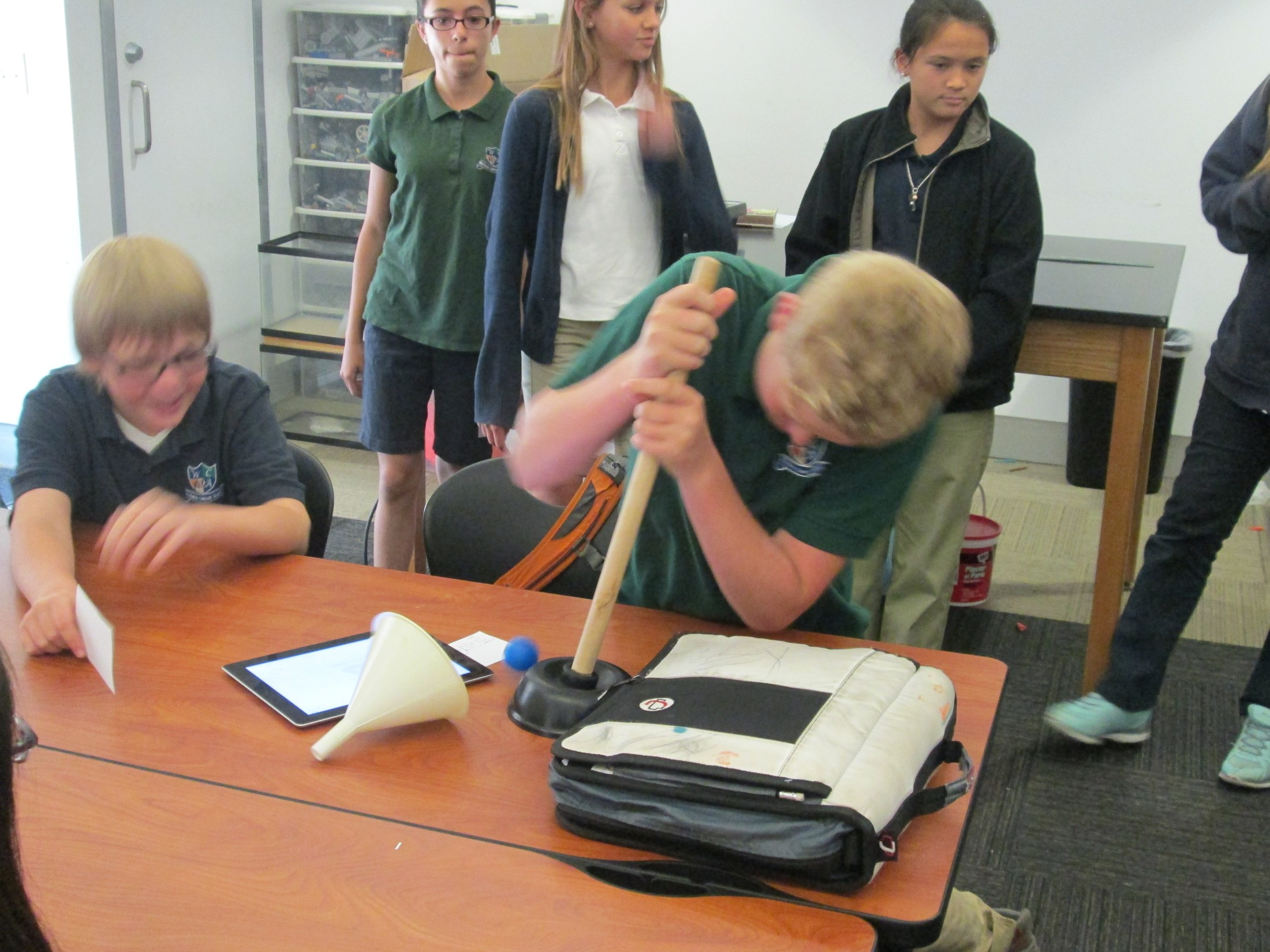 This week the 6th graders had a science lab on air pressure. Looks like everyone had a great time!