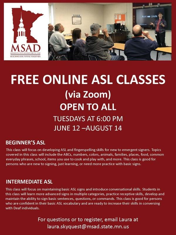 Free Online ASL Classes Summer 2018 Thumbnail Image