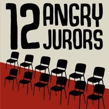 Image of the poster with the title of the play 12 Angry Jurors, which will be performed by the FHS theatre department Nov. 16-18. The image is a graphic depicting 12 chairs in what appears to be a jury box.