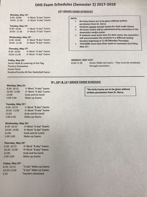 DHS Exam Schedule - 2nd semester