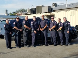 BPUSD_PINK_1: Baldwin Park Unified school police officers display pink police patches to show their commitment to help treat and find a cure for breast cancer.