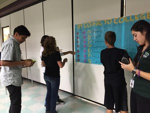 North Mountain Middle School students play A through G course game to know high school classes needed for college acceptance