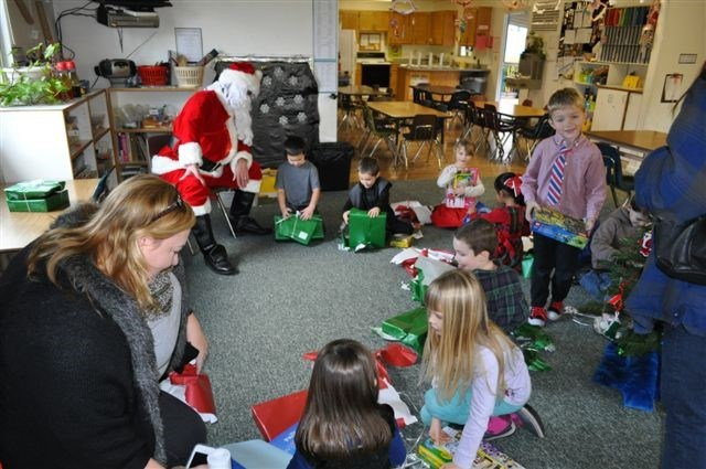 children listening to santa