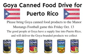 Goya Canned Food Drive information =