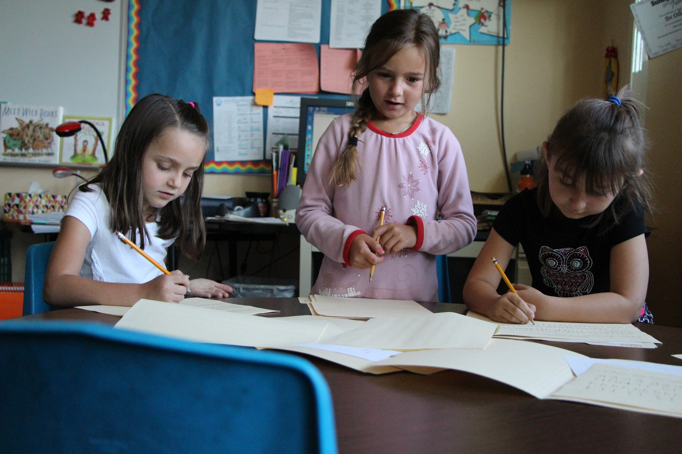 Students in first grade classroom.