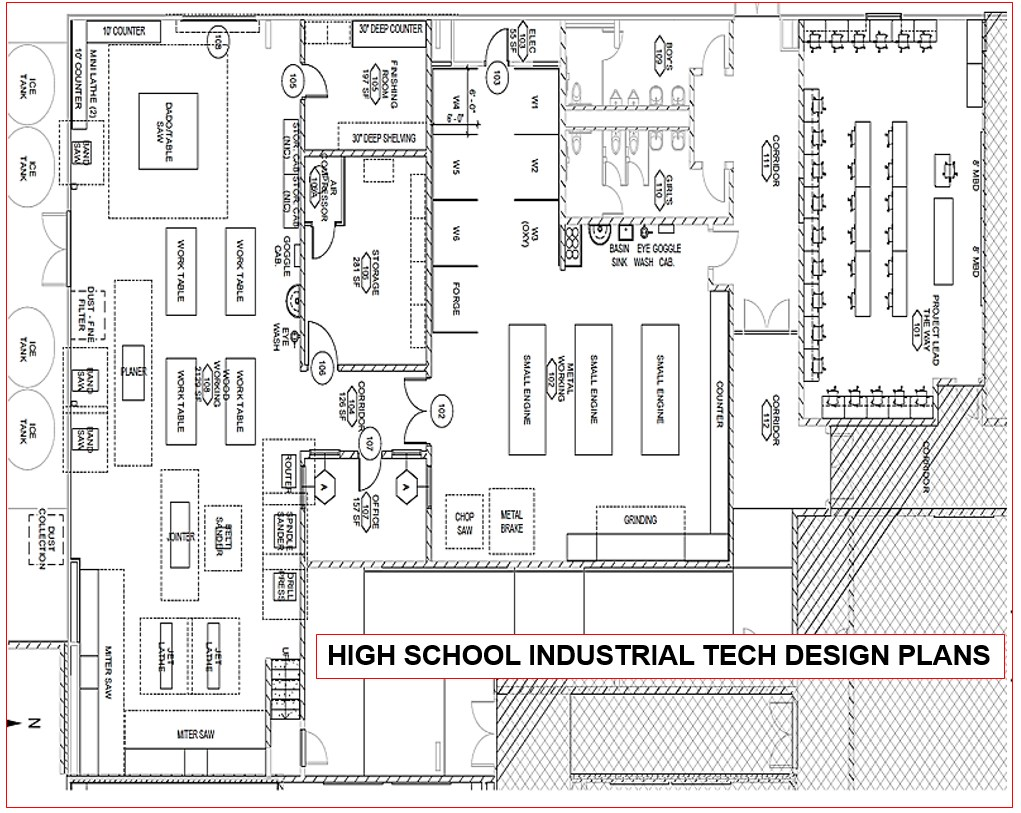 Schematic Design Plans of new Industrial Tech Classrooms