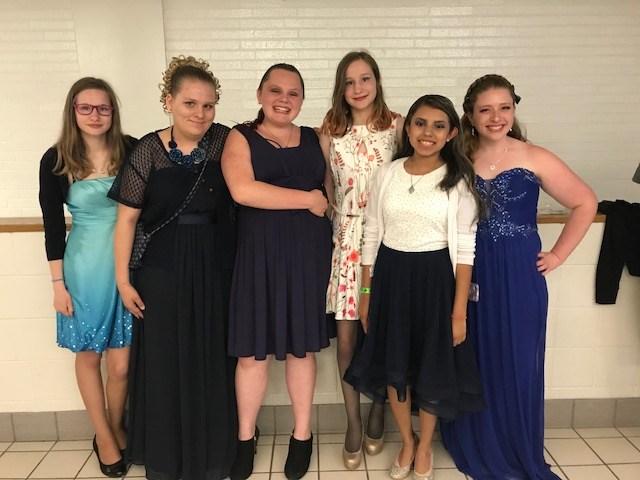 Girls at Formal Dance
